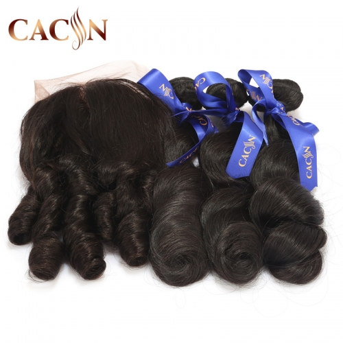 Loose wave 3 bundles with lace frontal, virgin Brazilian hair, Peruvian hair, Malaysian hair, and Indian hair with lace frontal